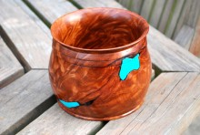 Jake Guy Redwood Lace Bowl Inlaid With Turquoise