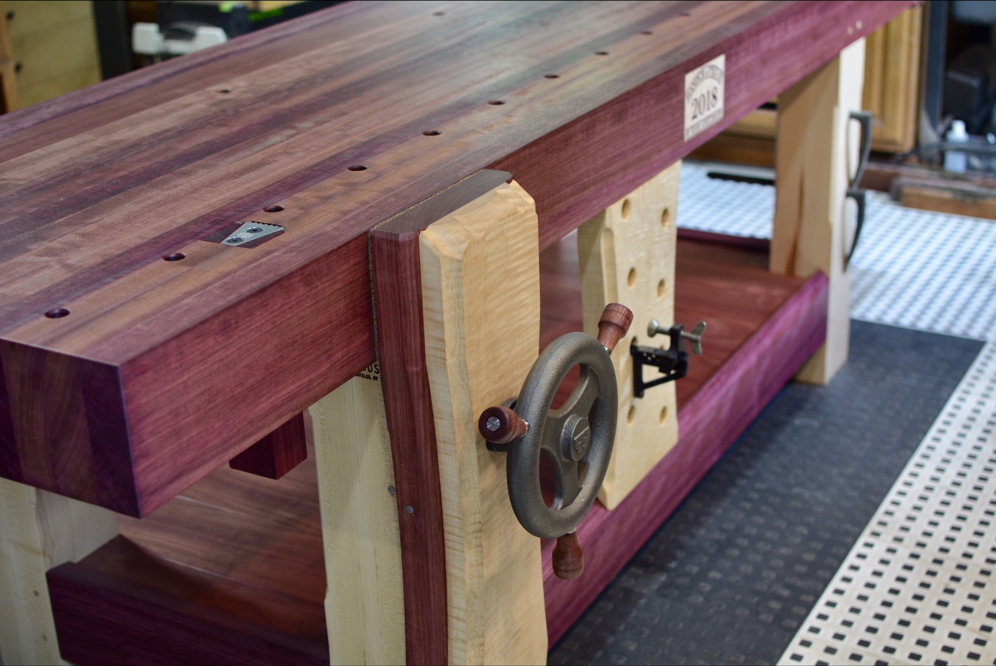 Prime Ryans Purpleheart And Maple Workbench The Wood Whisperer Pabps2019 Chair Design Images Pabps2019Com